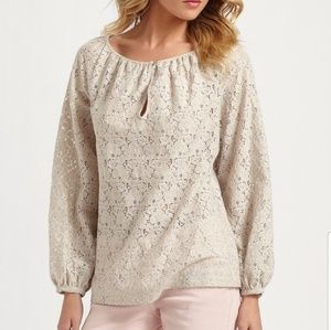 Tory Burch Natural Rose Spring Lace Cream Blouse